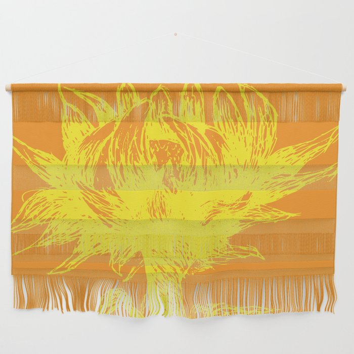 Yellow Sunflower Sketch Wall Hanging by scarletwild