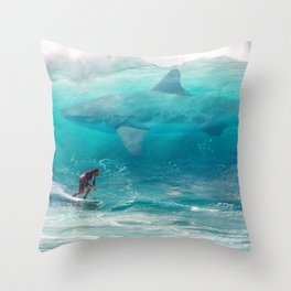 Surfing with a Giant Shark Throw Pillow