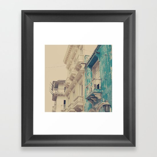 Grunge Summer Town (Retro and Vintage Urban, architecture photography, blue and cream) Framed Art Print