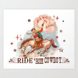 Retro Cowboy Art Print