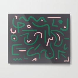 Green and pink doodles Metal Print