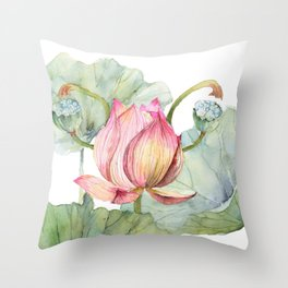 Lotus Metaphor for Feminine Beggining Throw Pillow