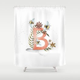 B is for Bee - Letter B Monogram Shower Curtain