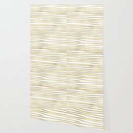 Small simply uneven luxury gold glitter stripes on clear white - horizontal pattern Wallpaper