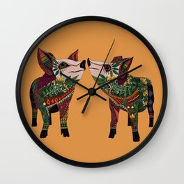 pig love amber Wall Clock