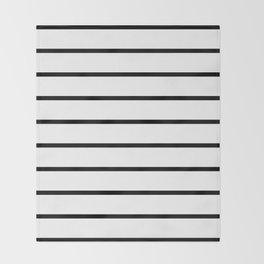 Horizontal Lines (Black & White Pattern) Throw Blanket