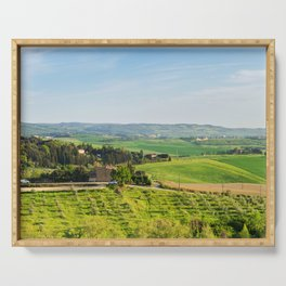 Beautiful spring landscape in Tuscany countryside, Italy Serving Tray