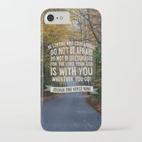 verse iPhone & iPod Cases featuring Joshua 1 verse 9 - Typographic Bible Verse by Chris Watts