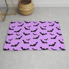Black Bat Pattern on Purple Rug