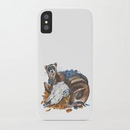 ferret and skull iPhone Case