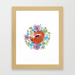 Sleepy fox in a bed of flowers Framed Art Print