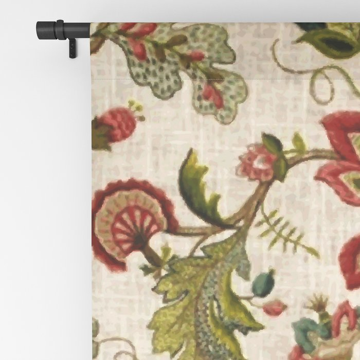 Red Green Jacobean Floral Embroidery Pattern Blackout Curtain