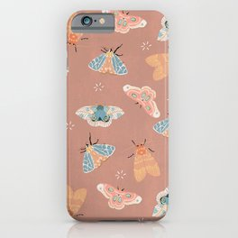Moth Pattern - Pastels - Pink iPhone Case
