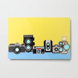 Cameras Yellow and Blue Metal Print