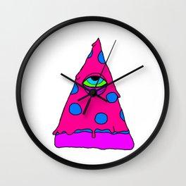 Illuminati Pizza - Swag Pepperoni Confirmed PINK Wall Clock