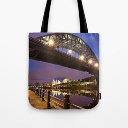 Bridges over the river Tyne in Newcastle, England at night Tote Bag