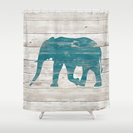 Rustic Teal Elephant on White Painted Wood A222a Shower Curtain