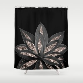 Gray Black Agave with Rose Gold Glitter #1 #shiny #tropical #decor #art #society6 Shower Curtain