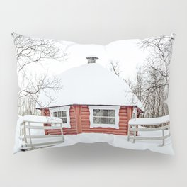 Red Cabin In The Snow Photo | Norway Winter Holiday Season Scenery Art Print | Travel Photography Pillow Sham