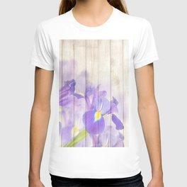 Romantic Vintage Shabby Chic Floral Wood Purple T-shirt