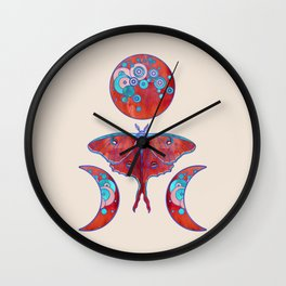Luna Moth and Tripe Moon - Blood Red Wall Clock