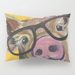 Pig with Glasses Art, Farm Animal, Cute Pig Art Pillow Sham
