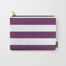 Palatinate purple - solid color - white stripes pattern Carry-All Pouch