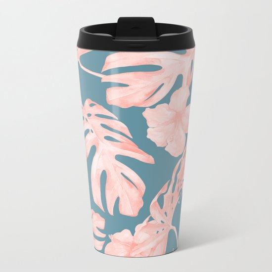 Tropical Palm Leaves and Hibiscus Pink Teal Blue Metal Travel Mug