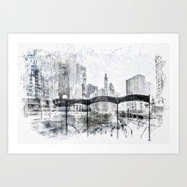 City Art CHICAGO Downtown Art Print