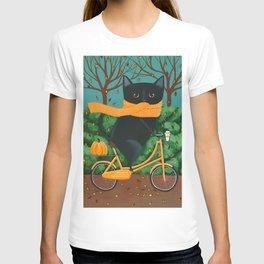 Black Cat Autumn Bicycle Ride T-shirt