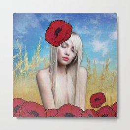 Girl in the Poppy Field Metal Print