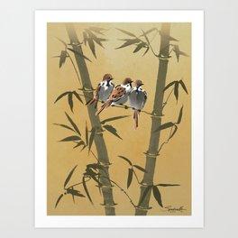 Three Sparrows In Bamboo Tree Art Print