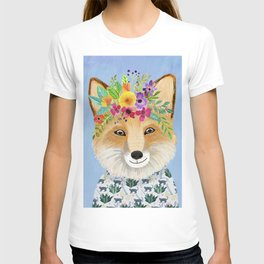 Fox with floral crown T-shirt