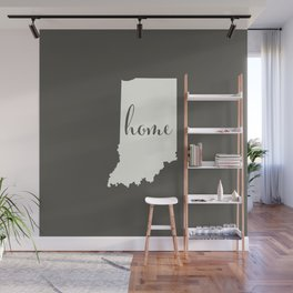 Indiana is Home - White on Charcoal Wall Mural