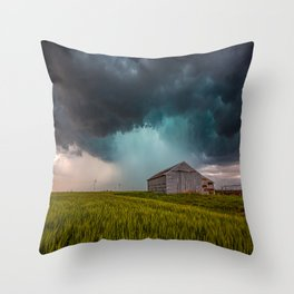 Rainy Day - Storm Passes Behind Barn in Southwest Oklahoma Throw Pillow