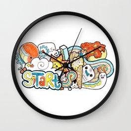 Kawaii Doodle - Just Start Wall Clock