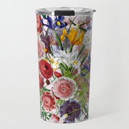 Vintage & Shabby Chic - Lush baroque flower pattern on pink Travel Mug