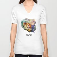 poland V-neck T-shirts featuring Map of Poland watercolor by jbjart