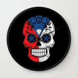 Sugar Skull with Roses and Flag of Czech Republic Wall Clock