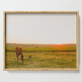 Summer Landscape with Horse Serving Tray