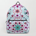 Pointillism mandala   Light blue, red and purple by camcreative
