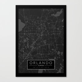 Orlando Map - Black and White (Dark) Canvas Print