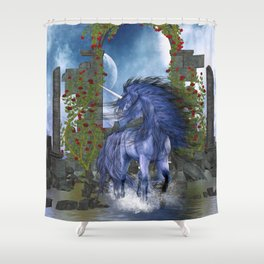 Blue Unicorn 2 Shower Curtain