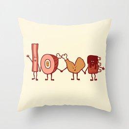 Meat Love U Throw Pillow