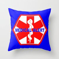 medical Throw Pillows featuring  MEDICAL ALERT IDENTIFICATION TAG by Sofia Youshi
