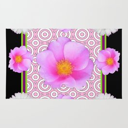 Modern Art Style Shasta Daisy Pink Roses  Black Color Abstract art Rug
