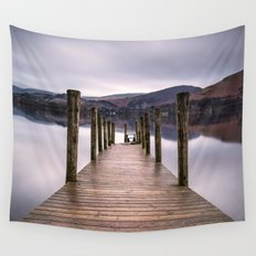 Lake View with Wooden Pier Wall Tapestry