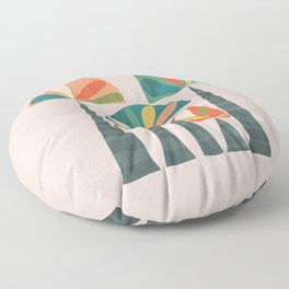 Quirky retro palm trees Floor Pillow