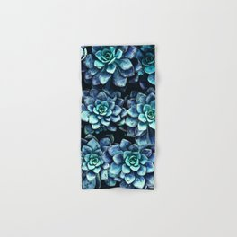 Blue And Green Succulent Plants Hand & Bath Towel