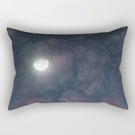 Glowing Moon on the night sky through pink clouds Rectangular Pillow